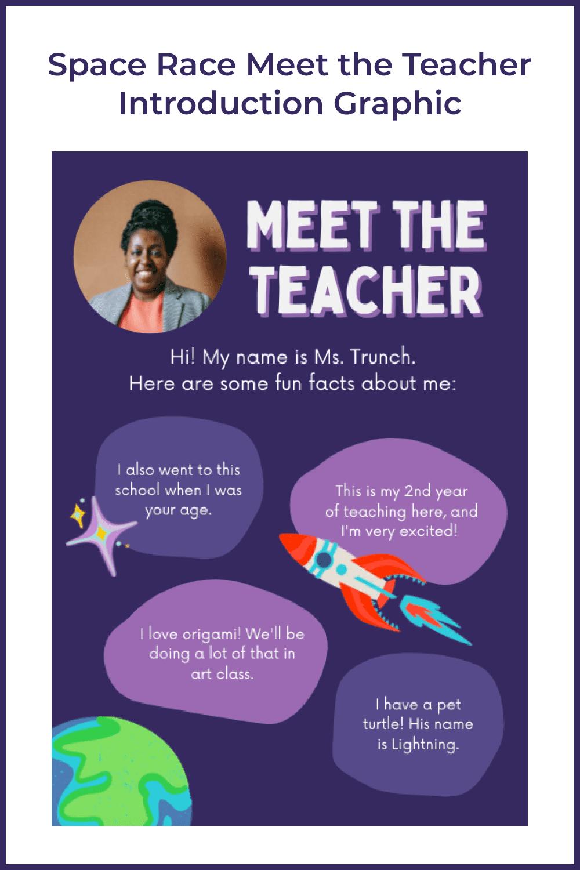 Space Race meet the teacher introduction graphic.
