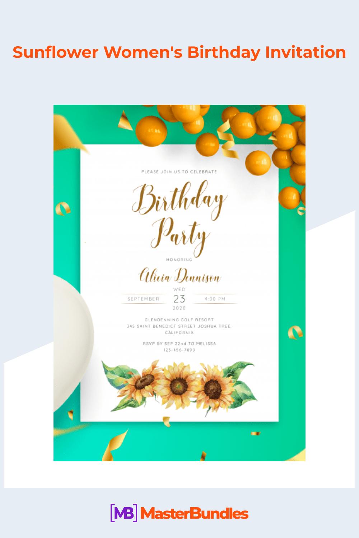 Sunflower women's birthday invitation.