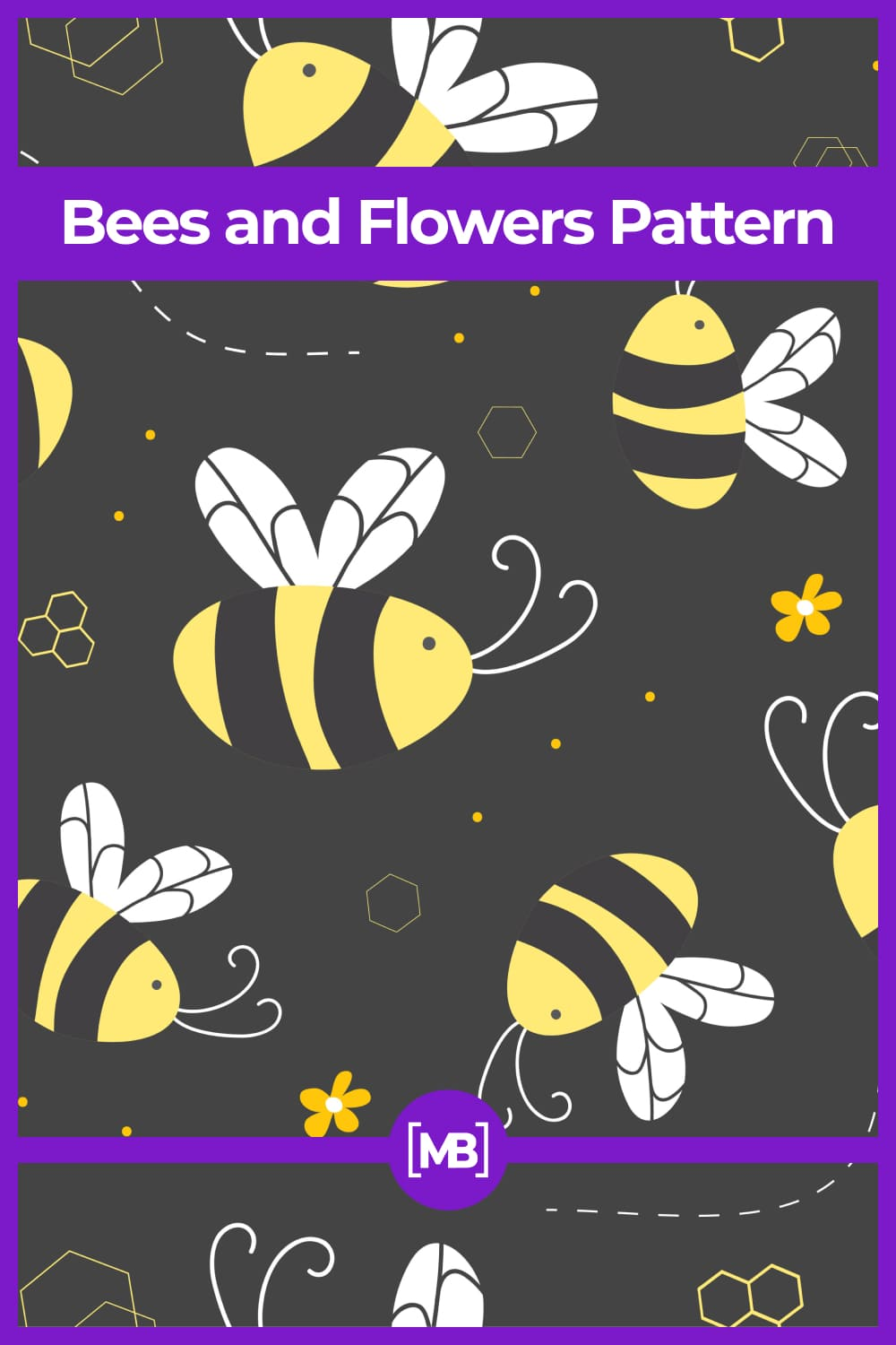 Bees and Flowers Pattern.