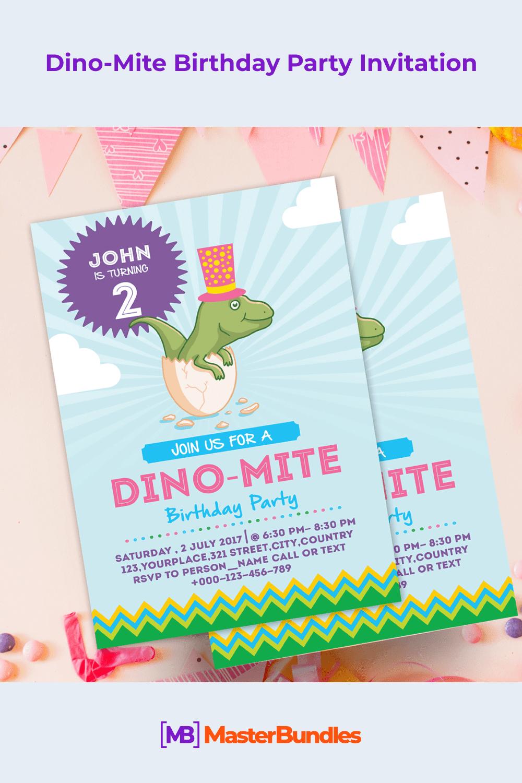 Dino-Mite birthday party invitation.
