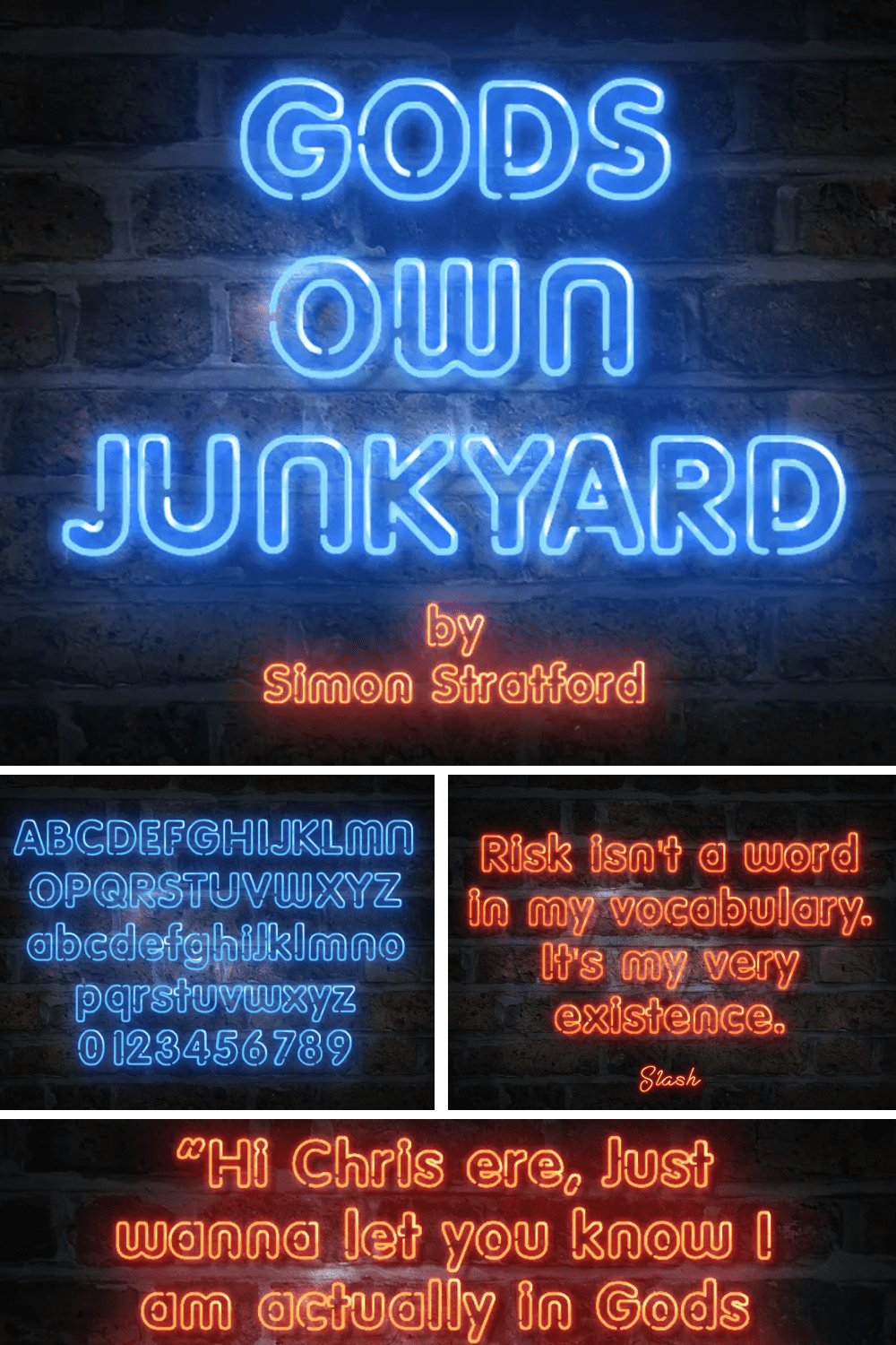 Double font in different neon colors.