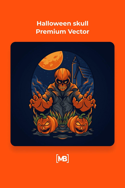 2 Halloween skull Premium Vector