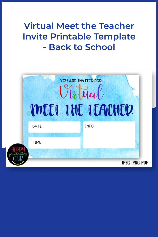 Virtual meet the teacher invite printable template - back to school.