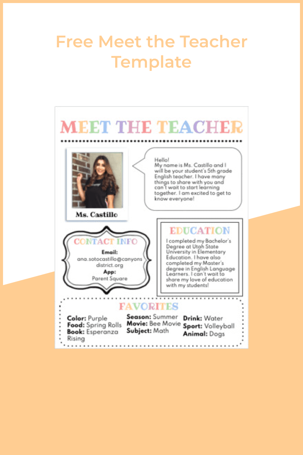 Colorful words on the meet the teacher template.
