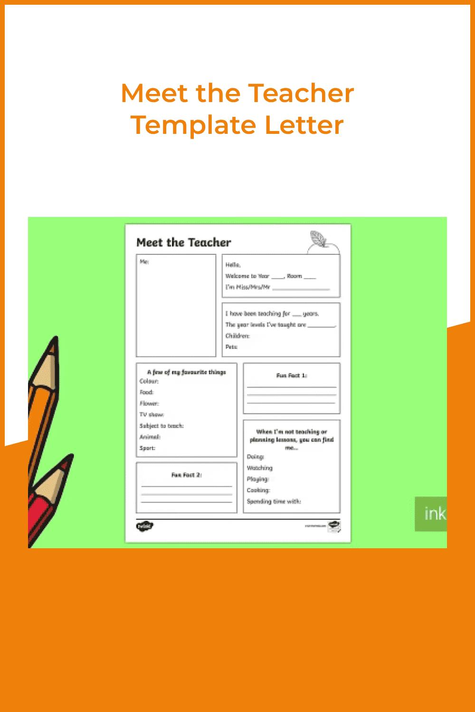 Meet the teacher template letter.