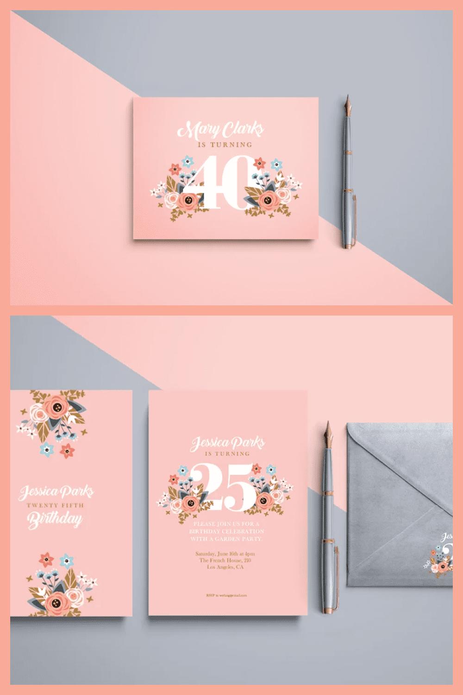 Peach birthday invitation.