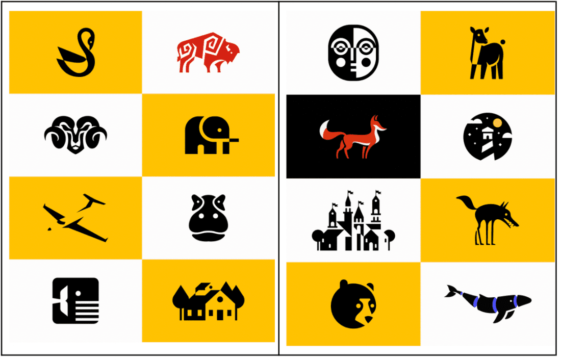 Illustrations with the small icons.
