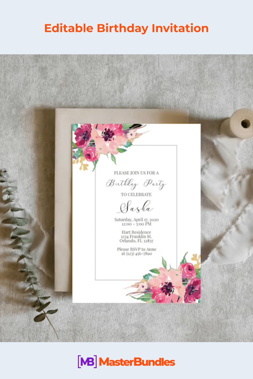 Editable birthday invitation.