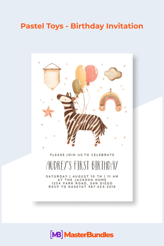 Pastel toys - birthday invitation.