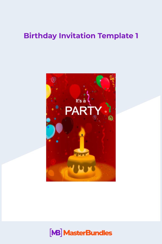 Modern birthday invitation template.