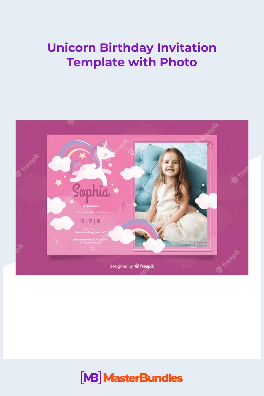 Unicorn birthday invitation template with photo.