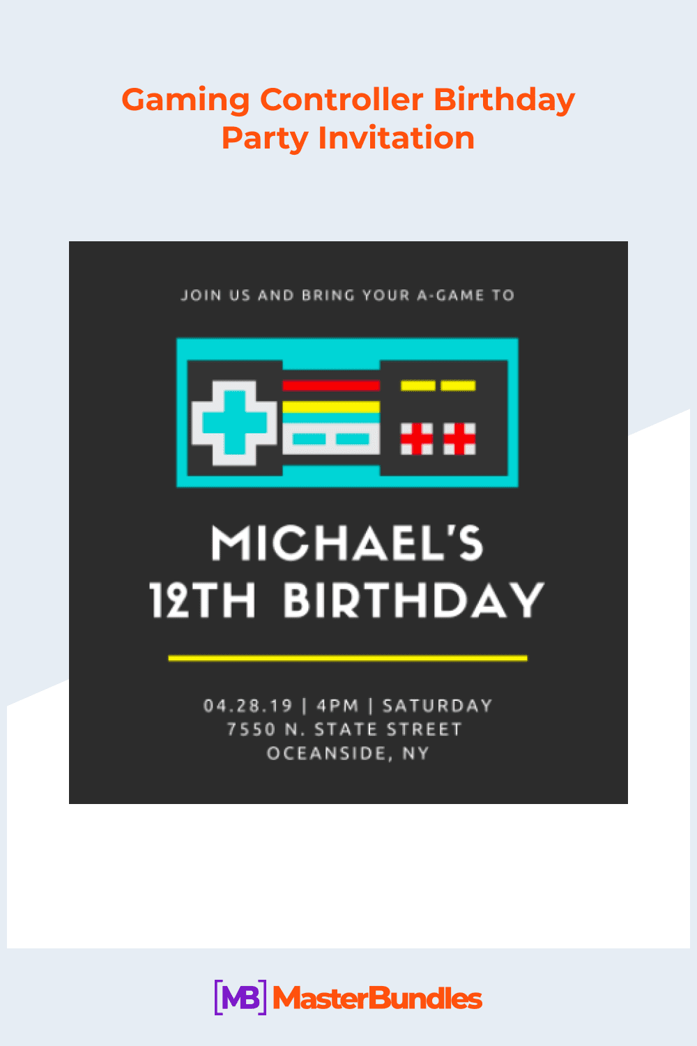 Gaming controller birthday party invitation.