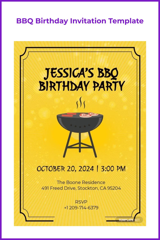 BBQ birthday invitation template.