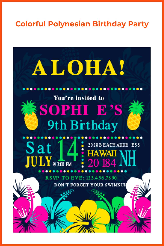 Colorful polynesian birthday party.