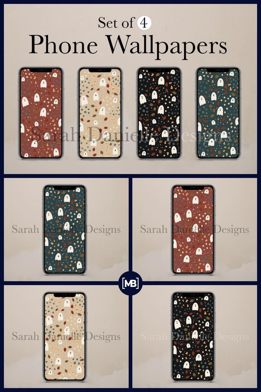 3 Cute Ghosts Candy Corn Phone Wallpaper Design