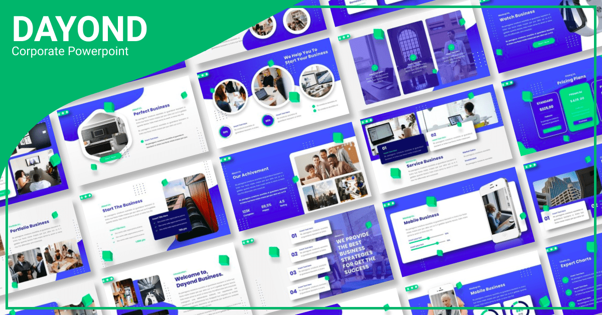 Huge blue template with vivid elements.
