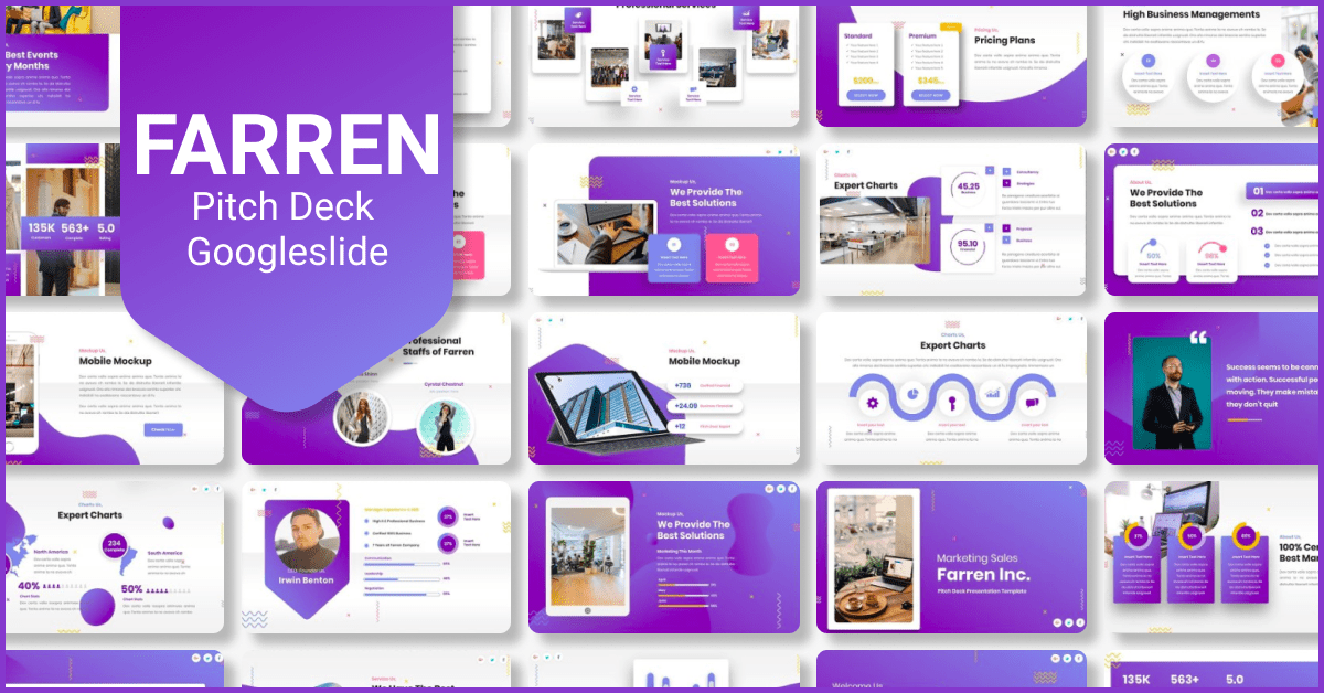 Huge purple template with colorful elements.