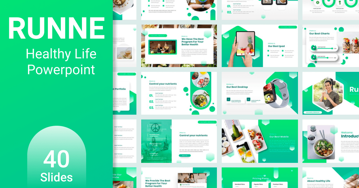Huge green template with colorful elements.