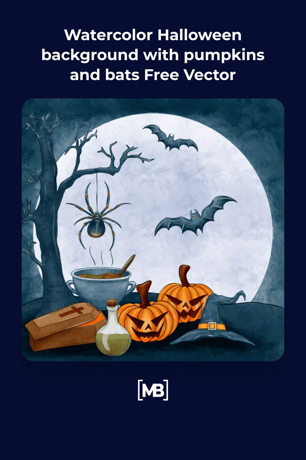 3 Watercolor Halloween background with pumpkins and bats Free Vector