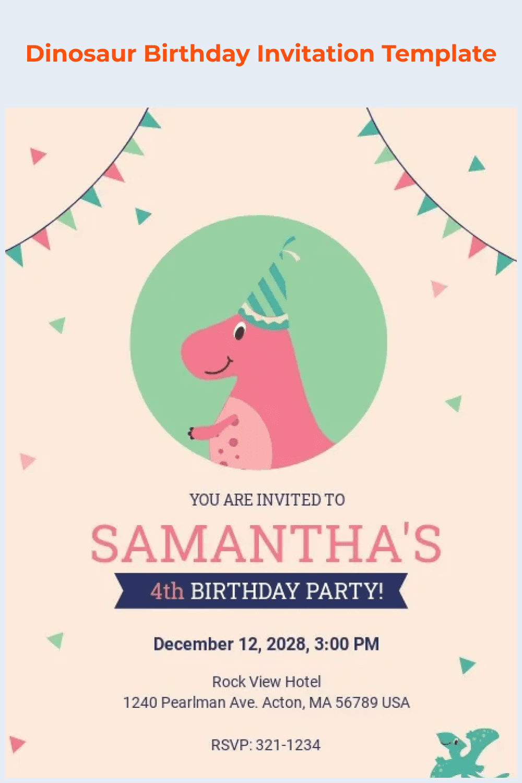 Dinosaur birthday invitation template.