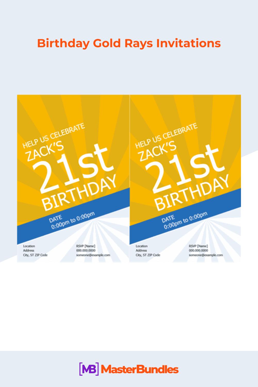 Birthday gold rays invitations.
