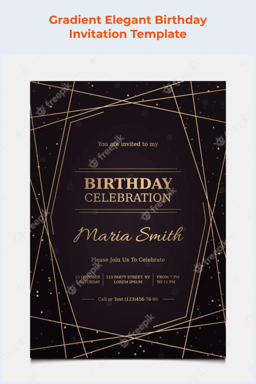 Gradient elegant birthday invitation template.