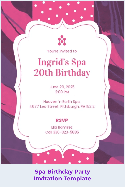 Spa birthday party invitation template.