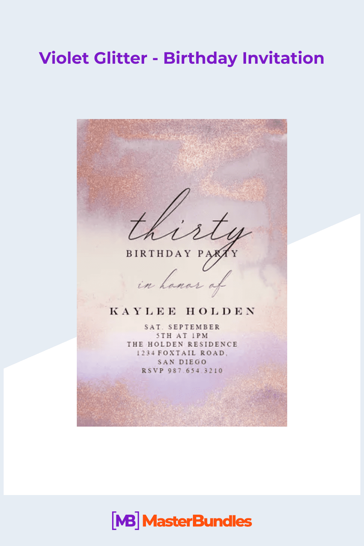 Violet glitter - birthday invitation.