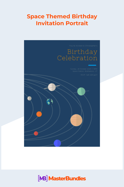Space themed birthday invitation portrait.