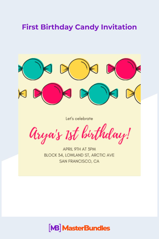 First birthday candy invitation.