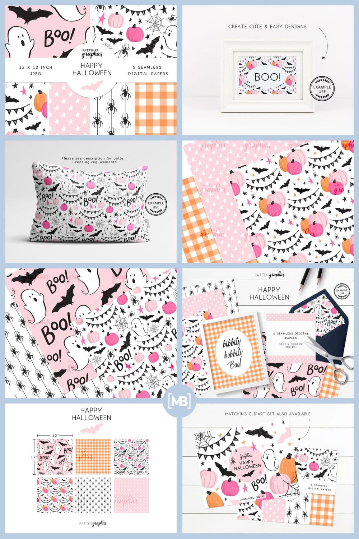 4 Cute Halloween Digital Paper Pink Halloween Seamless Patterns