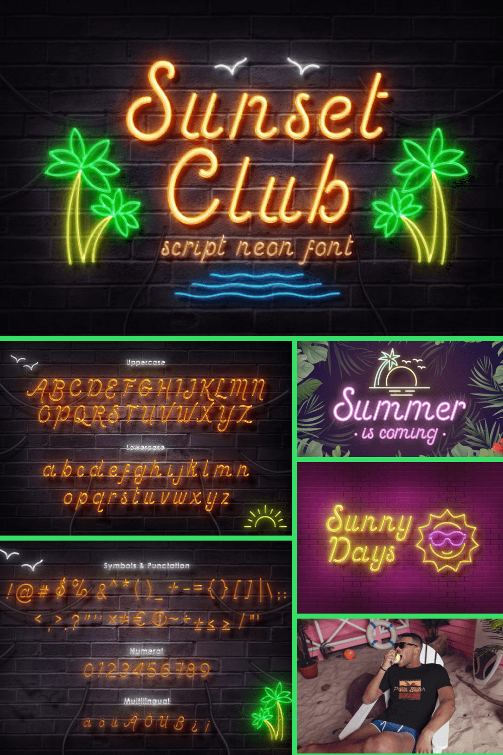 Pool font in neon style.
