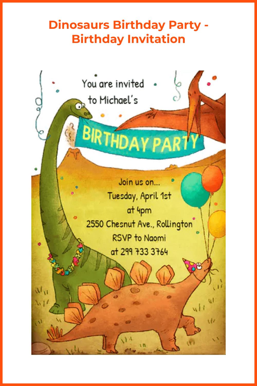 Dinosaurs birthday party invitation.