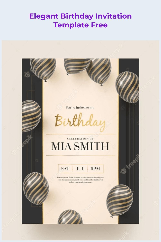 Elegant birthday invitation template.