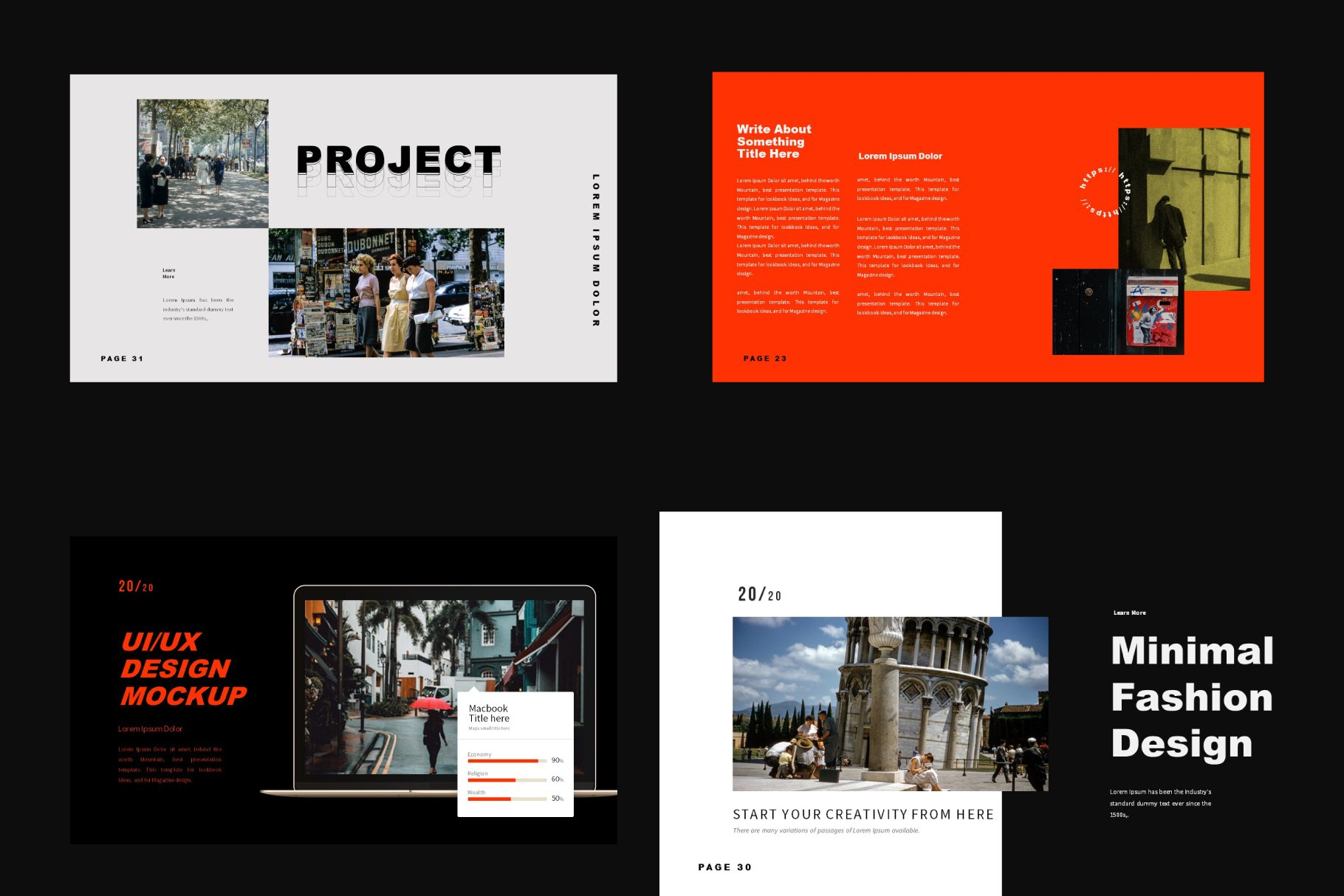 Color contrast create an urban template style.