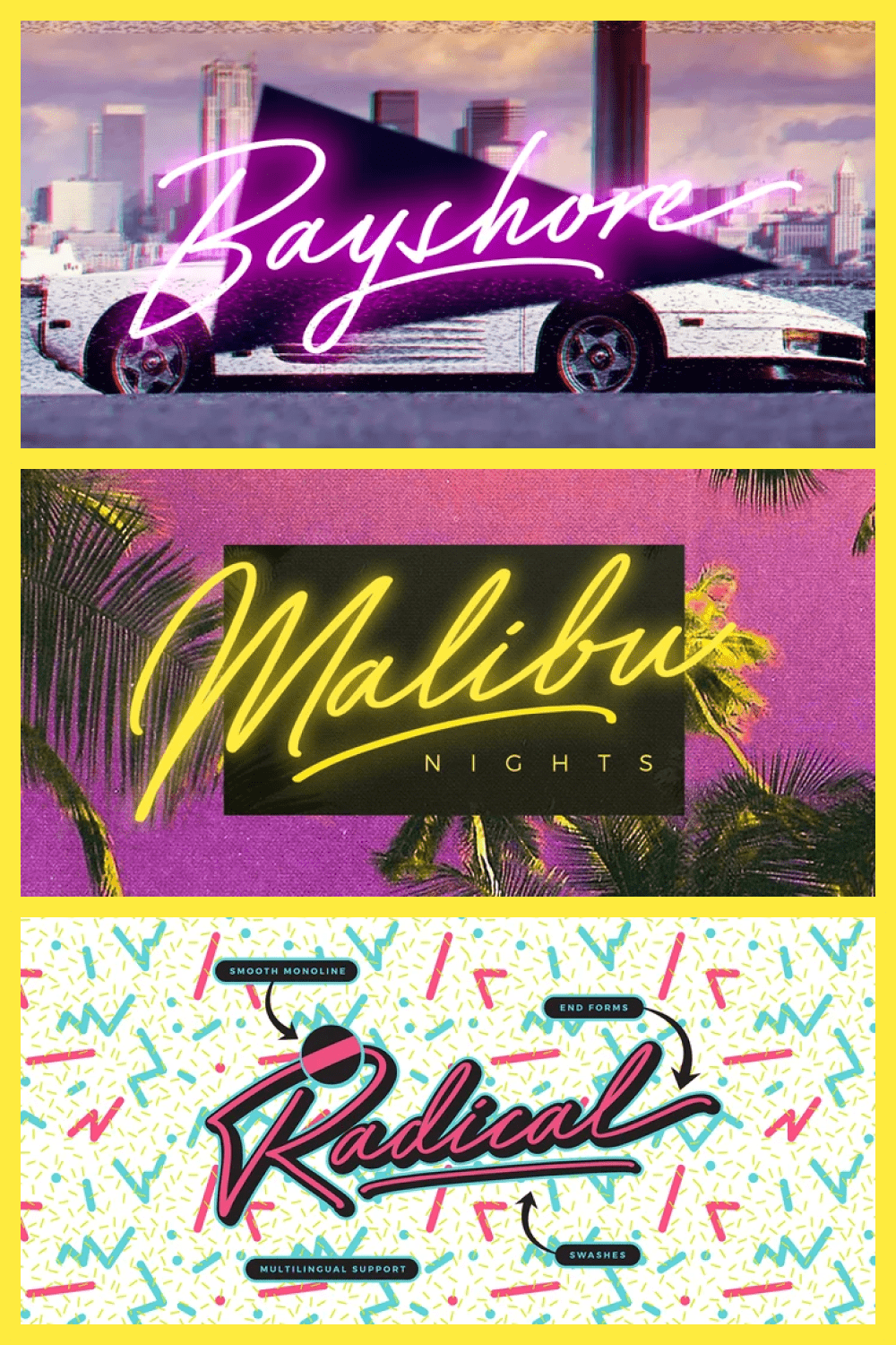 Font in neon and italics.