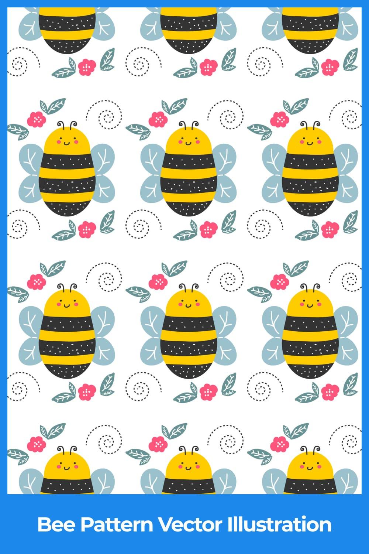 Bee Pattern Vector Illustration.