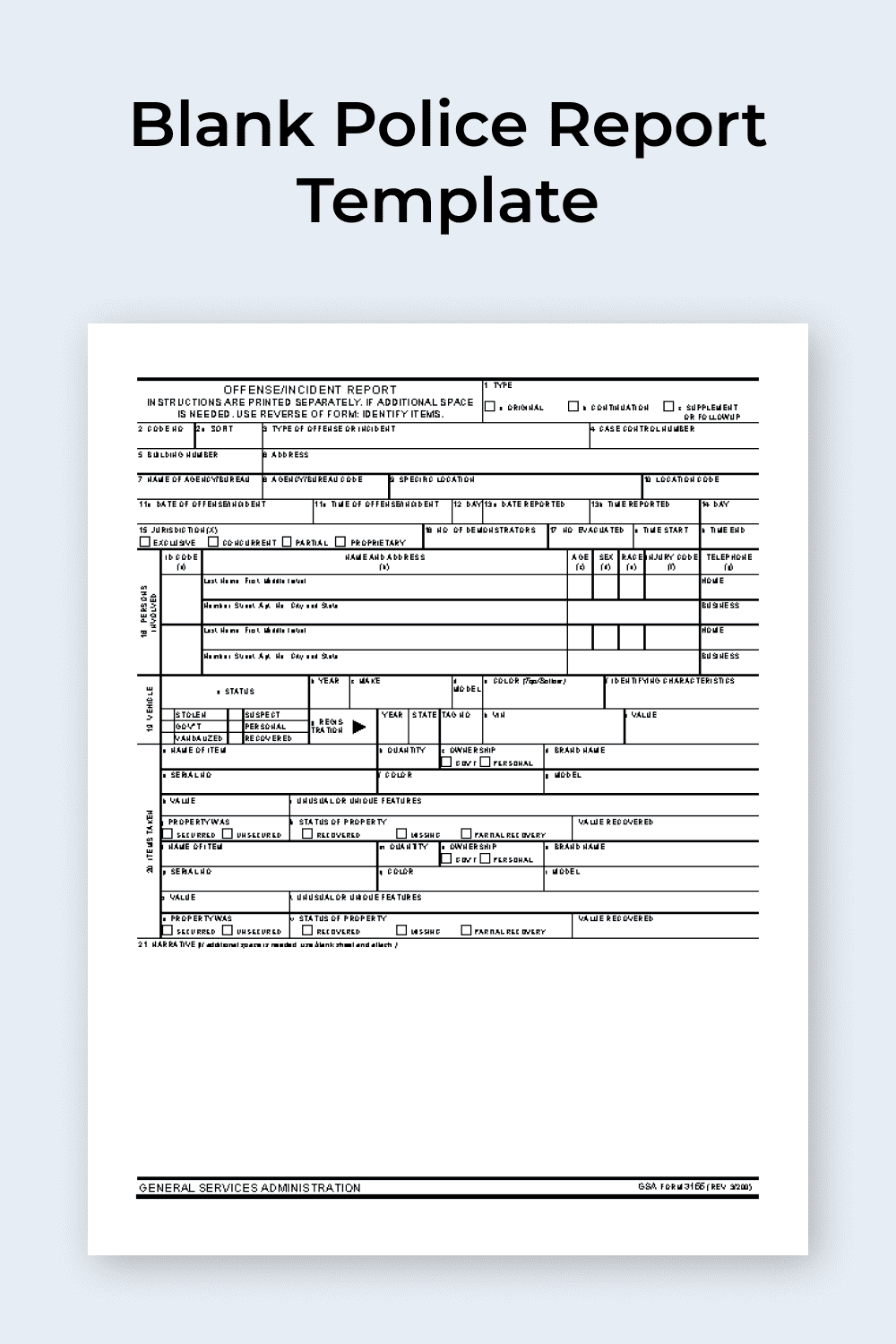 Blank Police Report Template.