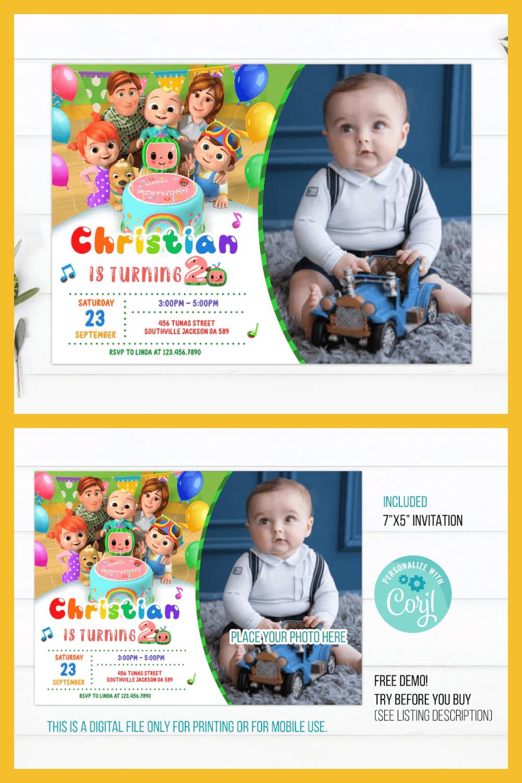 Cocomelon birthday invitation template.