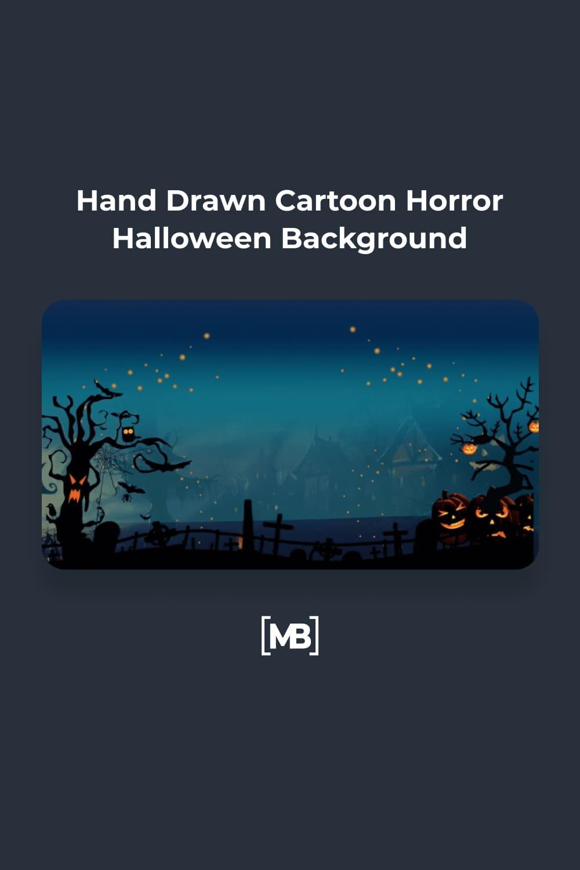5 Hand Drawn Cartoon Horror Halloween Background