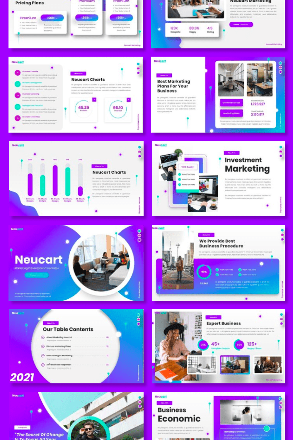Template includes a lot of cool elements for decorating your presentation.