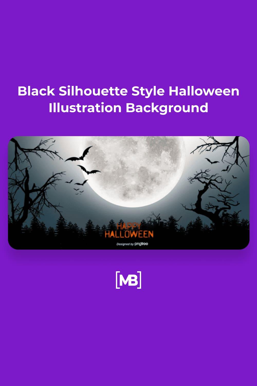 6 Black Silhouette Style Halloween Illustration Background