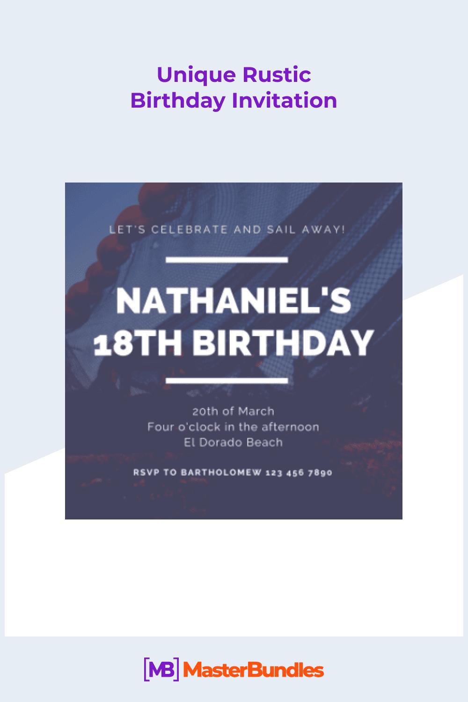 Unique rustic birthday invitation.