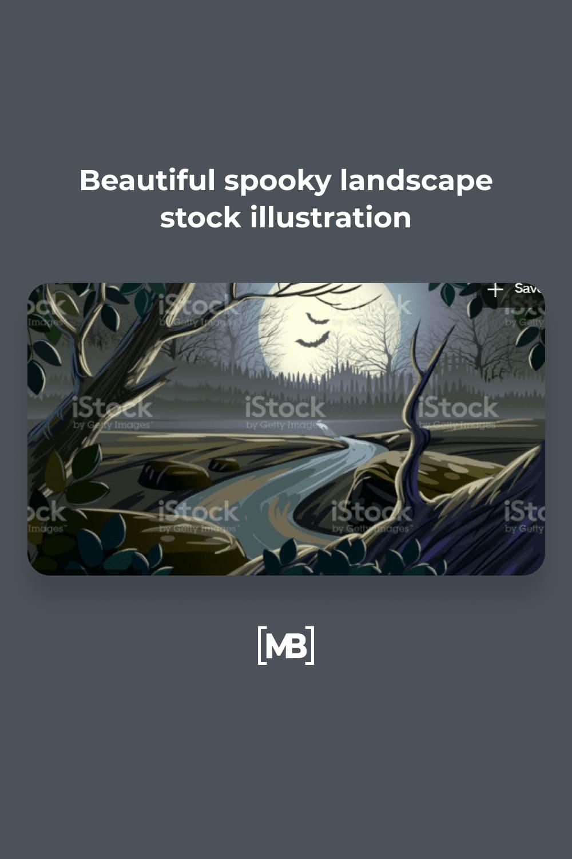 7 Beautiful spooky landscape stock illustration