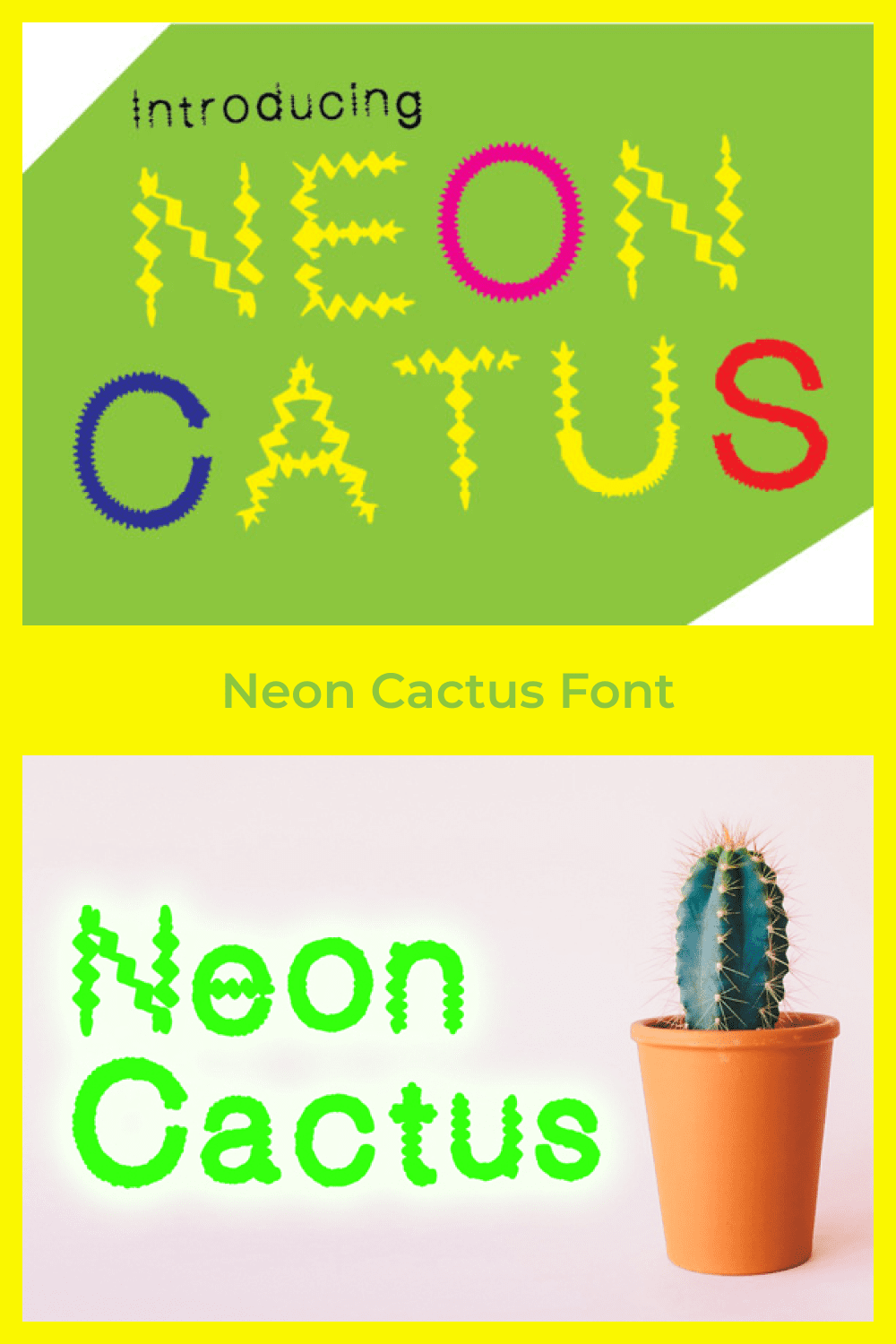 Bright font with sharp shapes.