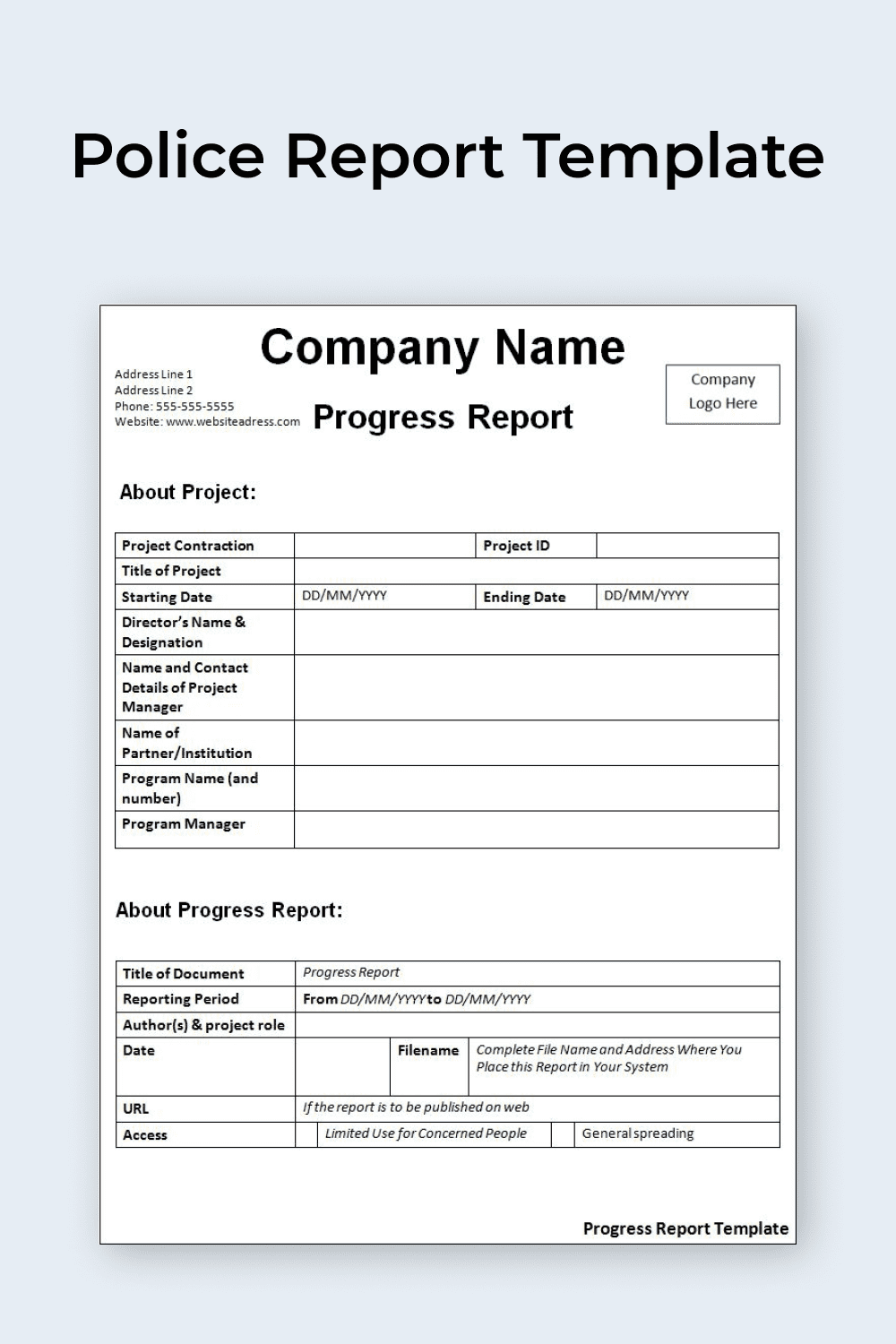 Police Report Template.