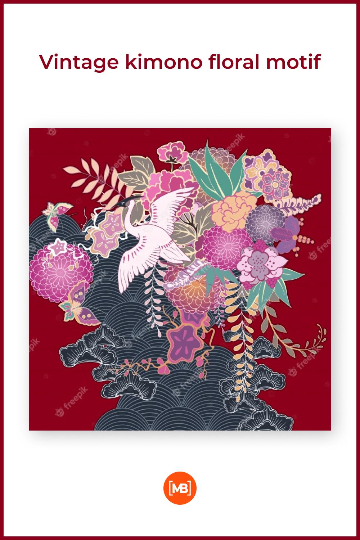 Vintage kimono floral motif.