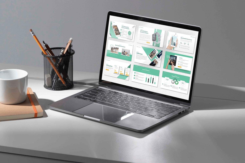 Laptop option of the Avolio Finance Powerpoint.