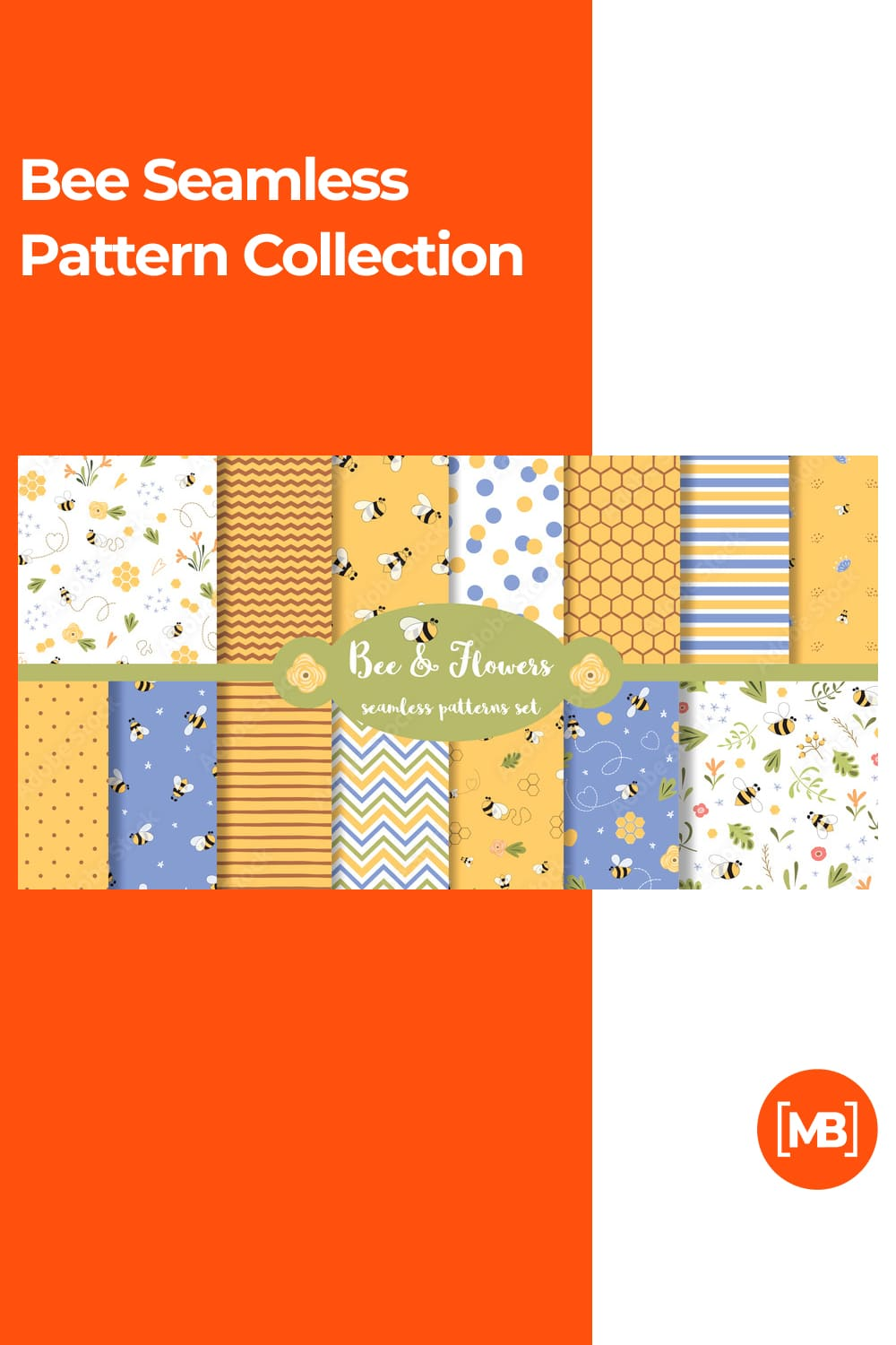Bee Seamless Pattern Collection.