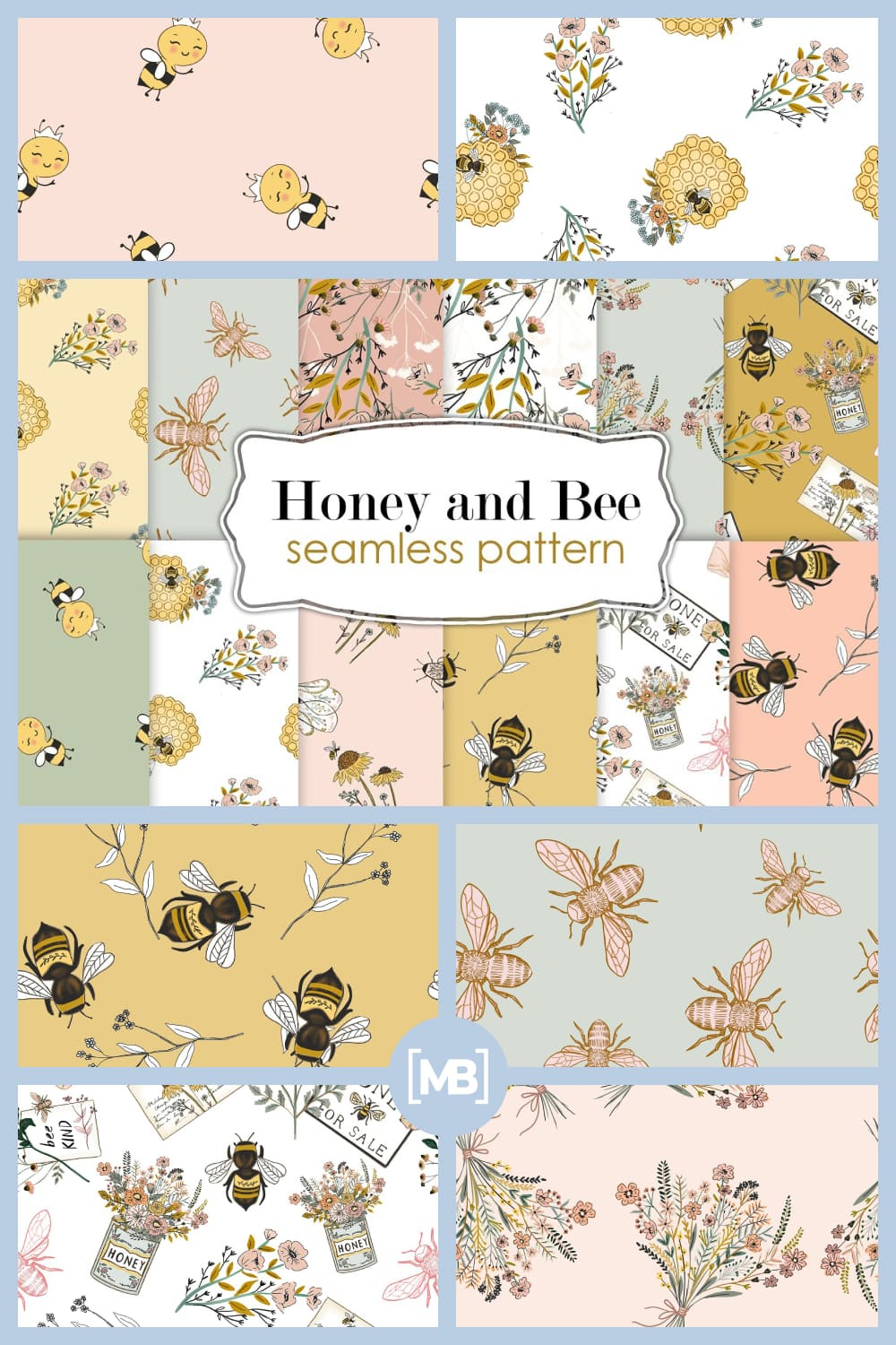Honey and Bee Seamless Patterns.